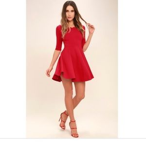 Scallop Top Red Homecoming Formal Dress